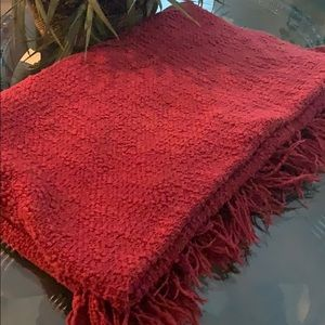 Red Fringe Holiday Throw Blanket